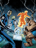 Fantastic Four No.583 Cover: Mr. Fantastic, Invisible Woman, Thing, and Human Torch Standing Plastic Sign by Alan Davis