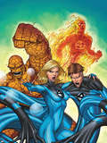 Marvel Adventures Fantastic Four No.48 Cover: Invisible Woman, Mr. Fantastic, Thing and Human Torch Plastic Sign by Roger Cruz