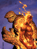 Fantastic Four No.56 Cover: Thing and Human Torch Plastic Sign by Jim Cheung