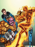 Marvel Adventures Fantastic Four No.44 Cover: Human Torch and Mr. Fantastic Plastic Sign by Tom Grummett