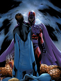 Ultimate Fantastic Four No.22 Cover: Magneto and Mr. Fantastic Plastic Sign by Greg Land