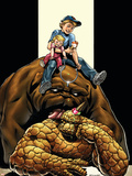 The Thing No.4 Cover: Thing, Richards, Franklin, Richards, Valeria and Lockjaw Plastic Sign by Andrea Di Vito