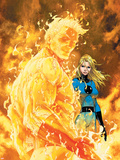 Fantastic Four No.547 Cover: Human Torch and Invisible Woman Plastic Sign by Michael Turner