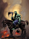 Incredible Hulk 81 Cover: Hulk Riding Plastic Sign by Lee Weeks