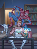 FF No.17 Cover: Johnny Storm and Spider-Man Pósters por Mike Choi