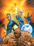 Fantastic Four No.553 Cover: Thing, Mr. Fantastic, Invisible Woman and Human Torch Crouching Plastic Sign by Michael Turner