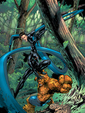 Fantastic Four: First Family No.1 Cover: Mr. Fantastic, Thing and Black Panther Fighting Art by Carlo Pagulayan