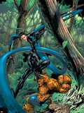 Fantastic Four: First Family No.1 Cover: Mr. Fantastic, Thing and Black Panther Fighting Plastic Sign by Carlo Pagulayan
