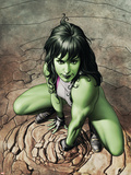She-Hulk No.3 Cover: She-Hulk Crouching Plastic Sign by Adi Granov