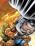 Marvel Adventures Fantastic Four No.33 Cover: Rhino, Thing and Human Torch Plastic Sign by Tom Grummett