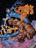 Fantastic Four: Heroes Reborn Cover: Mr. Fantastic, Invisible Woman, Thing and Human Torch Plastic Sign by Jim Lee
