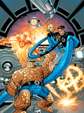 Marvel Adventures Fantastic Four No.37 Cover: Thing, Mr. Fantastic, Invisible Woman and Human Torch Plastic Sign by Nolan Graham