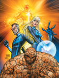 Fantastic Four No.553 Cover: Thing, Mr. Fantastic, Invisible Woman and Human Torch Crouching Prints by Michael Turner