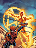 Fantastic Four No.512 Cover: Human Torch and Spider-Man Plastic Sign by Mike Wieringo