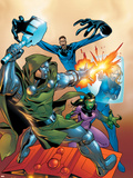 Fantastic Five No.2 Cover: Dr. Doom, Mr. Fantastic, Invisible Woman and Lyja Plastic Sign by Ron Lim