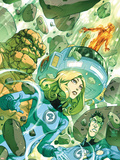 Fantastic Four: True Story No.1 Cover: Invisible Woman, Thing and Mr. Fantastic Plastic Sign by Niko Henrichon