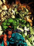 Incredible Hulk No.612 Cover: A-Bomb, Red She-Hulk, She-Hulk, Hulk, Skaar, and Bruce Banner Plastic Sign by Carlo Pagulayan