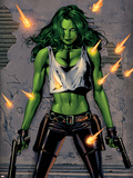 She-Hulk No.26 Cover: She-Hulk Fighting Plastic Sign by Greg Land
