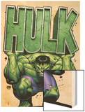 Marvel Adventures Hulk No.4 Cover: Hulk Wood Print by David Nakayama