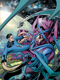 Fantastic Four No.586 Cover: Mr. Fantastic and Galactus Fighting Plastic Sign by Alan Davis