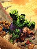 Marvel Adventures Hulk No.12 Cover: Hulk, Thing and Juggernaut Plastic Sign by David Nakayama