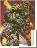 World War Hulk No.2 Cover: Hulk Wood Print by David Finch