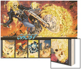 Ghost Rider No.0.1: Panels with Ghost Rider Flaming and Riding a Motorcycle Wood Print by Matthew Clark