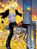 Ghost Rider No.0.1: Panels with Ghost Rider Flaming and Riding a Motorcycle Plastic Sign by Matthew Clark