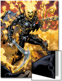 Ghost Rider No.9: Ghost Rider Posing With Chains and Weapon Poster by Emanuela Lupacchino