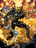 Ghost Rider No.9: Ghost Rider Posing With Chains and Weapon Plastic Sign by Emanuela Lupacchino