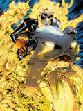 Ghost Rider No.1: Ghost Rider Flaming and Riding a Motorcycle Plastic Sign by Matthew Clark