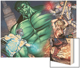 Incredible Hulks: Enigma Force No.3: Hulk, Hiro-Kala, Princess Marionette, Carl, and Bug Charging Wood Print by Miguel Munera