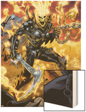 Ghost Rider No.9: Ghost Rider Posing With Chains and Weapon Wood Print by Emanuela Lupacchino