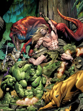 Incredible Hulks No.623 Cover: Ka-Zar and Hulk Fighting Plastic Sign by Dale Eaglesham