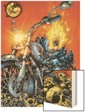Ghost Rider V3 No.1 Cover: Ghost Rider Wood Print by Trent Kaniuga