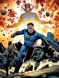 Fantastic Four No.586: Mr. Fantastic and Galactus Running Plastic Sign by Steve Epting