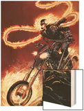 Ghost Rider No.1: Ghost Rider Flaming and Riding a Motorcycle Wood Print by Matthew Clark