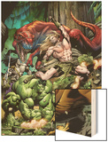 Incredible Hulks No.623 Cover: Ka-Zar and Hulk Fighting Wood Print by Dale Eaglesham