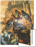 Ultimate Comics Armor Wars No.1 Cover: Iron Man Wood Print by Brandon Peterson