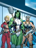 Hulk No.7 Group: She-Hulk, Valkyrie and Thundra Plastic Sign by Arthur Adams