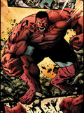 Hulk No.42: Panels with Red Hulk  Smashing and Screaming Plastic Sign by Patrick Zircher
