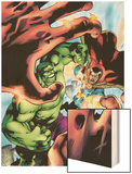 Marvel Adventures Hulk No.5 Cover: Hulk and Dr. Strange Wood Print by Juan Santacruz