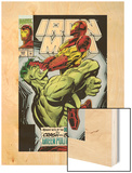 Iron Man No.305 Cover: Iron Man and Hulk Fighting Wood Print by Kev Hopgood