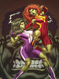 She-Hulks No.1 Cover: She-Hulk and Lyra Fighting Wall Decal by Ed McGuinness