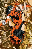 Red She-Hulk 67 Cover: Red She-Hulk Plastic Sign by Francesco Francavilla
