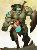 Incredible Hulk No.601 Cover: Banner, Bruce and Skaar Stretching Plastic Sign by Ariel Olivetti