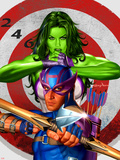 She-Hulk No.2 Cover: She-Hulk and Hawkeye Plastic Sign