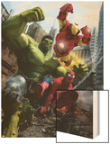 Marvel Adventures Iron Man Special Edition No.1 Cover: Iron Man, Hulk and Spider-Man Wood Print by Francisco Ruiz Velasco