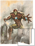 Indomitable Iron Man No.1 Cover: Iron Man Wood Print by Lucio Parrillo