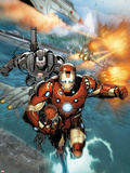 Invincible Iron Man No.513: Iron Man and War Machine Flying Plastic Sign by Salvador Larroca